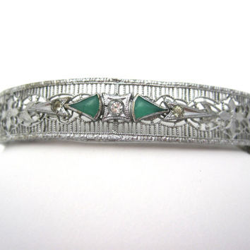 Vintage Art Deco Sterling Silver Bracelet - Filigree Bangle - Faux Emeralds