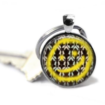 Sherlock Yellow Smiley Face Keychain
