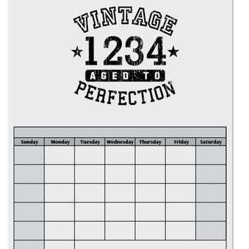 Vintage Birth Year Distressed Personalized Blank Calendar Dry Erase Board by TooLoud