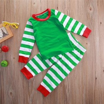 Children Autumn Christmas Clothes Set Baby Boys Pajamas Girls Kid Sleepwear Suit Outfit