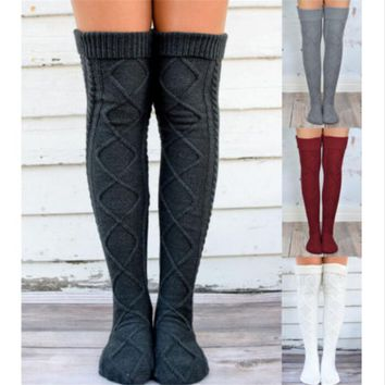 hirigin female women Sexy Over Knee Sock New Fashion Rain Boot Cuff Socks Long knitting Thigh High Sockings