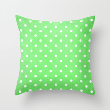 Polka Party Lime Throw Pillow by Shawn Terry King