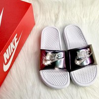 Bedazzled Crystal Nike Slides In Rainbow