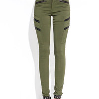 Zipped-My-Mind-Skinny-Pants BLACK OLIVE - GoJane.com