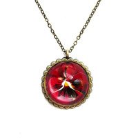 Glass Cabachon necklace. Hemisphere pendant. Red pansy. Glass pendant