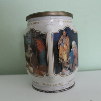 Vintage Tin box Saints Motive, Religious, Catholic Home Decor, Collectible Storage Tin Box, Coffee Box, Container