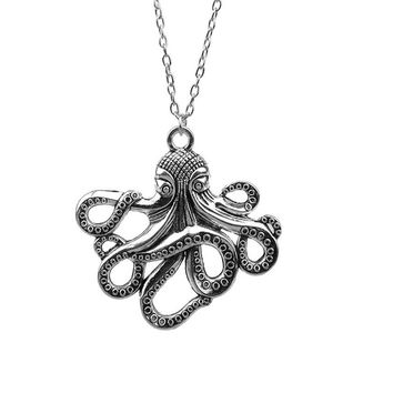 Fashion Antique Silver Plated Octopus Pendant Necklace
