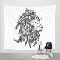 Poetic Lion Turquoise Wall Tapestry by LouJah | Society6
