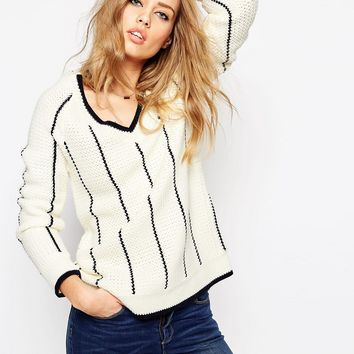 ASOS Cricket Sweater with V Neck and Tipping