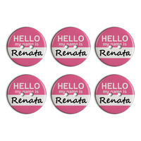 Renata Hello My Name Is Plastic Resin Button Set of 6
