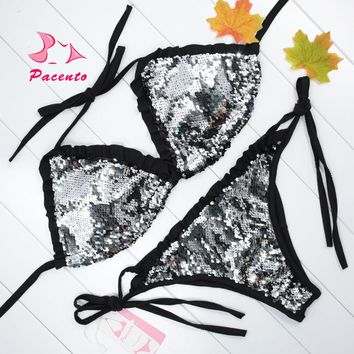 Pacento Sexy Sequins Bikini Black Brazilian Swimsuit Women Bandage Biquinis Female 2018 Plus Size Swimwear String Suit XL Plavky