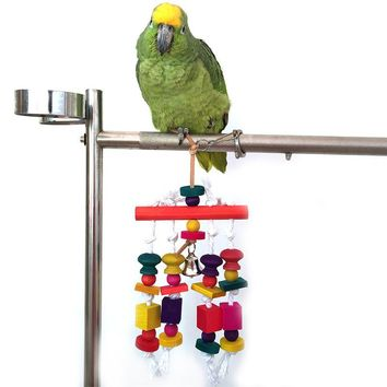 Colorful Medium & Large  wood Bird Parrot Chew Toy Rope Harness Cage Toys Parakeet