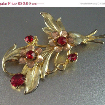 Sterling Rhinestone Flower Brooch, 1940s Ruby Red,  2 tone Yellow & Rose Gold Vermeil