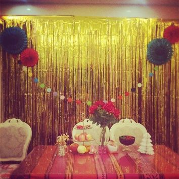 6 Colors Glitter Foil Tinsel Fringe Party Curtain Door Rain Curtain Decoration Stage Backdrop Birthday Wedding Party Supplies