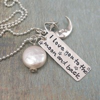 To The Moon and BackHand Stamped Sterling by tinytokensdesigns