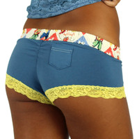 Blue Boyshorts Panties with Rodeo Waistband