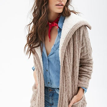 FOREVER 21 Faux Shearling Cable Knit Cardigan Taupe