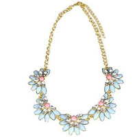 Shorouk Style Chunky Necklace Crystal Lotus Flower Light Blue