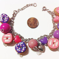 Doughnut Charm Bracelet, Purple and Pink, Polymer clay charms, gag gifts, kawaii fashion, charm bracelets, gift ideas, stocking stuffers