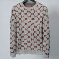 GUCCI 2018 new high quality men's full-print double G logo knitted sweater