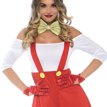 Cartoon Bunny Red White 3/4 Sleeve Off The Shoulder Suspender Romper Playsuit Halloween Costume