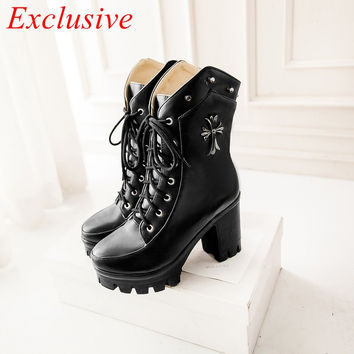 Gothic Shoes Latest Gothic Shoes women Winter Spring Autumn Womens Boots Plus Size Boots Black Red Khaki Gothic Shoes
