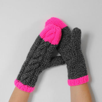 Neon Pink Cable Knit Mittens, Chunky Knit Mittens, Pink and Grey Mittens