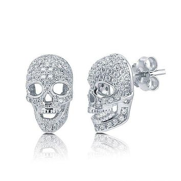 2TCW French Pave Russian Lab Diamond Skull Stud Earrings