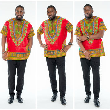 Red and Yellow African Print Dashiki Shirts