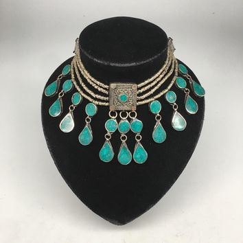Afghan Ethnic Turkmen Kuchi Choker Tribal Green Turquoise Inlay Inlay Necklace