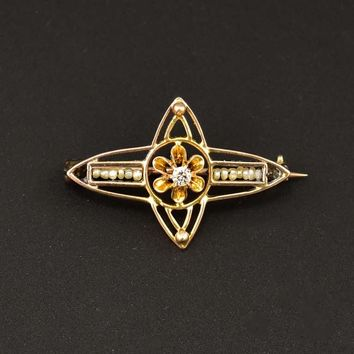 Dainty Gold Pearl and Diamond Antique Pin C. 1900