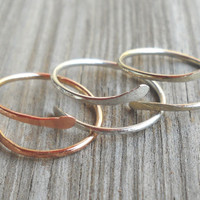 Hammered Alpaca,925 Sterling Silver,14K Gold Filled Wire Toe-Midi-Knuckle Ring Adjustable size