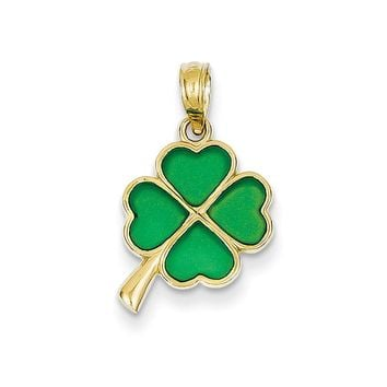 14k Yellow Gold & Translucent Acrylic Four Leaf Clover Pendant, 12mm