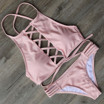 Pink High-Neck Cut-Out Bikini
