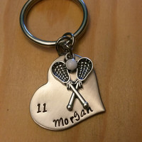 Hand Stamped Lacrosse Keychain Lacrosse Mom - Girls Lacrosse Keychain - Personalized Lacrosse Bag Charm
