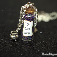 The Dark Curse Magical Necklace with a Heart or Cauldron Charm, Rumplestiltskin,  ABC Television Show, Storybrooke, Halloween Jewelry