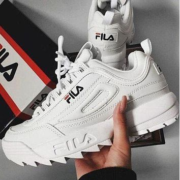 White FILA Fashion and Sports Shoes Sneakers