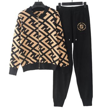 FENDI Fashionable Women Knit Cardigan Jacket Coat Pants Trousers Set Two-Piece Sportswear