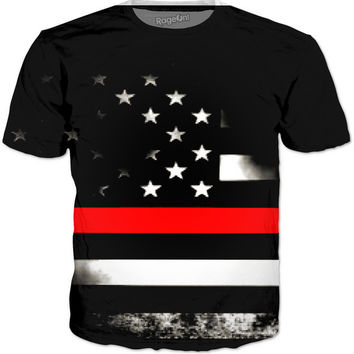 NEW FIREFIGHTERS THIN RED LINE T-SHIRT!!