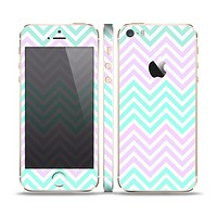 The Light Teal & Purple Sharp Chevron Skin Set for the Apple iPhone 5s