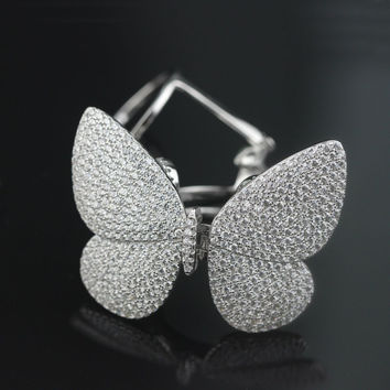 Really can fly ring!!!  New 925 Sterling Silver Pave Butterfly Ring High Quality Animal Knuckle Wedding Ring Jewelry For Women