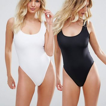 ASOS FULLER BUST Supportive Scoop Front Swimsuit Multipack DD-G at asos.com