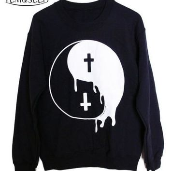 AA-149 Punk Women hoodies Big Bang Punk Taiji Great ultimate Yin Yang Cross sweatshirts pullovers Free shipping