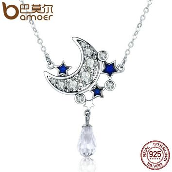 Genuine 925 Sterling Silver Crescent Moon & Star Shimmering Crystal Pendant Necklaces for Women Fine Jewelry Gift SCN110