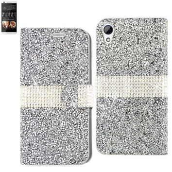 BLING Diamond Flip Case HTC Desire 626 SILVER