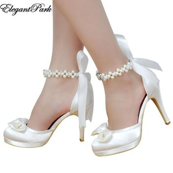 Woman Wedding Shoes White Ivory High Heel Round Toe Platform Pearls Ankle Strap Bow Sa