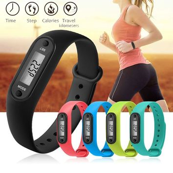 Digital LCD Silicone Pedometer Wristband  Run Step Walking Distance Calorie Counter Wrist Women Sport Fitness Watch Bracelet