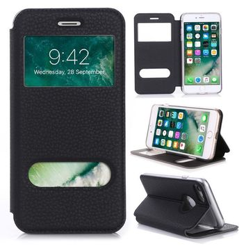 Luxury PU leather flip wallet window stand case for iPhone 8 & iPhone 8 plus