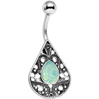 Light Green Faux Opal Oval Drop Tears of Heaven Belly Ring | Body Candy Body Jewelry