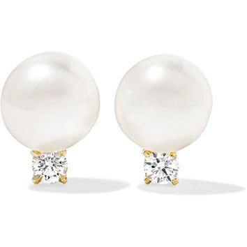 Jemma Wynne - 18-karat gold, pearl and diamond earrings